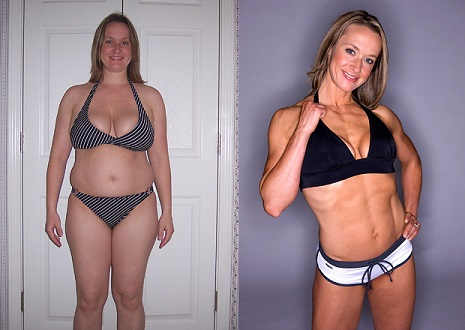 Female weight loss transformation